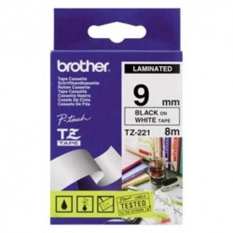 کاست برچسب لیبل برادر TZe221 مشکی روی سفید Brother TZe-221 p touch Label Tape Black on White