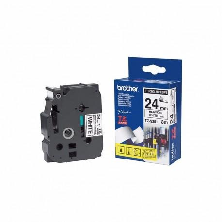 کاست برچسب لیبل برادر TZe251 مشکی روی سفید Brother TZe-251 p touch Label Tape Black on White